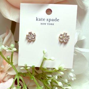 NWT Kate Spade Flower Studs O0RU2821 Clear / Gold